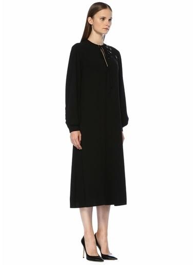Beymen Collection Midi Boy Krep Elbise Siyah